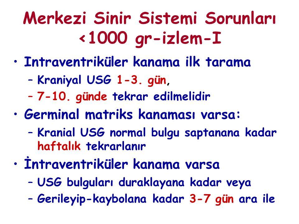 Merkezi Sinir Sistemi Sorunları <1000 gr-izlem-I