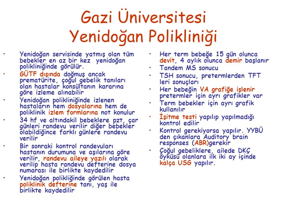 Gazi Üniversitesi Yenidoğan Polikliniği