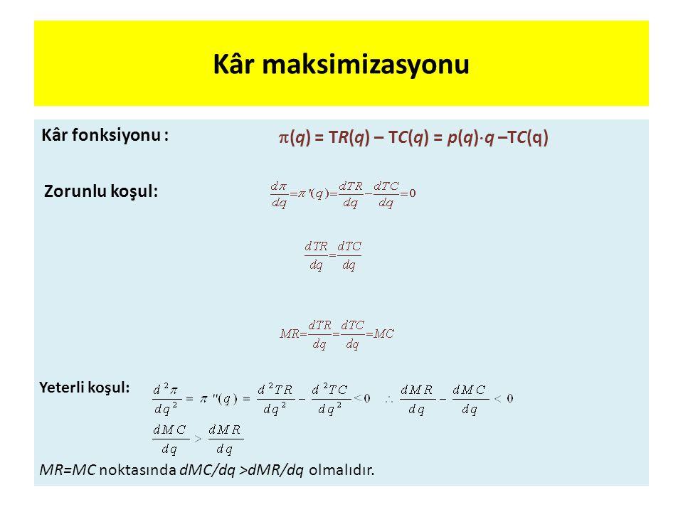 (q) = TR(q) – TC(q) = p(q)q –TC(q)