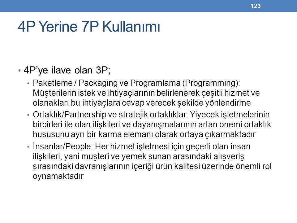 4P Yerine 7P Kullanımı 4P'ye ilave olan 3P;