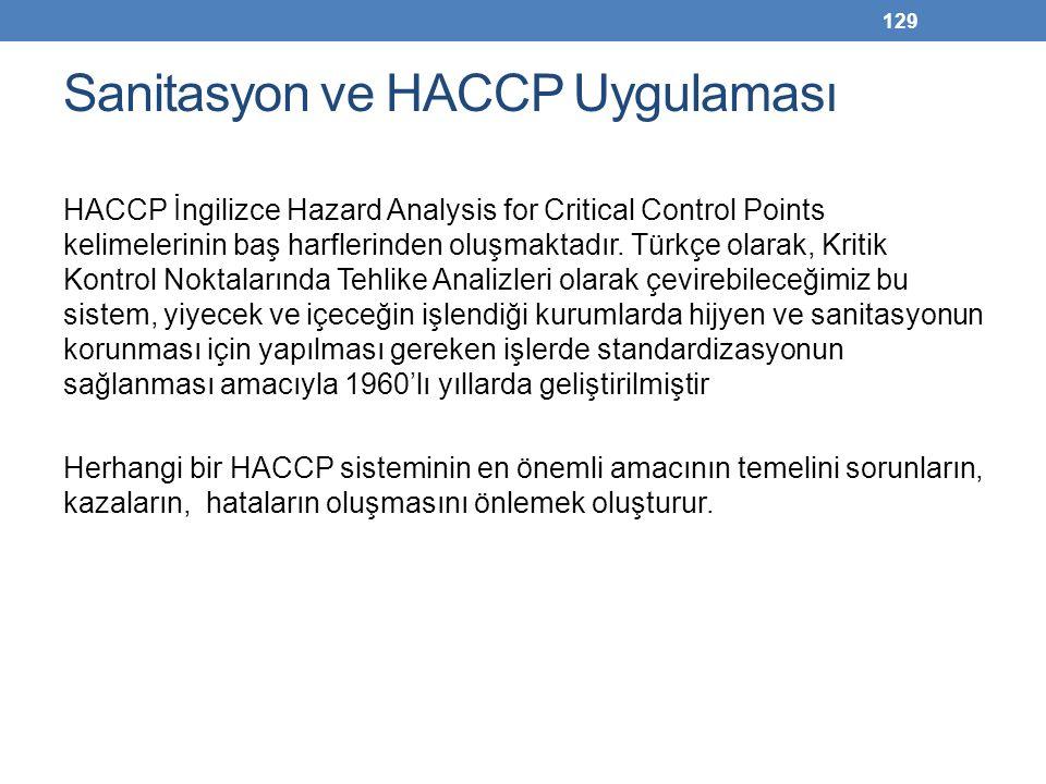 Sanitasyon ve HACCP Uygulaması