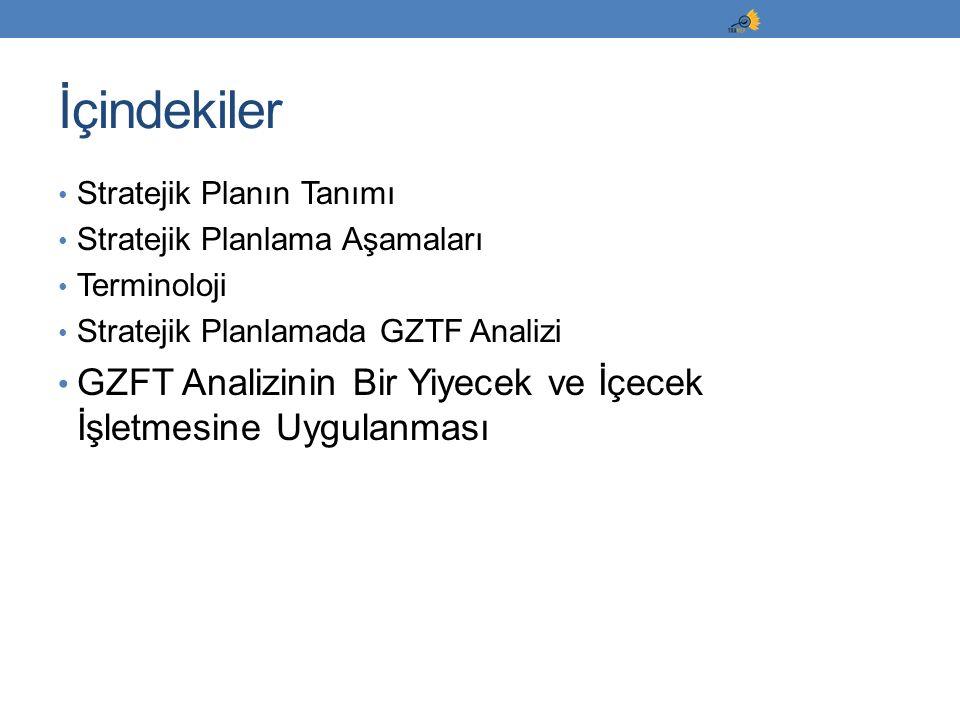 İçindekiler Stratejik Planın Tanımı. Stratejik Planlama Aşamaları. Terminoloji. Stratejik Planlamada GZTF Analizi.