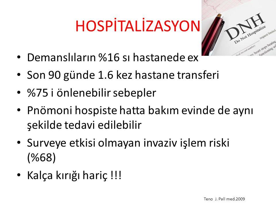 HOSPİTALİZASYON Demanslıların %16 sı hastanede ex