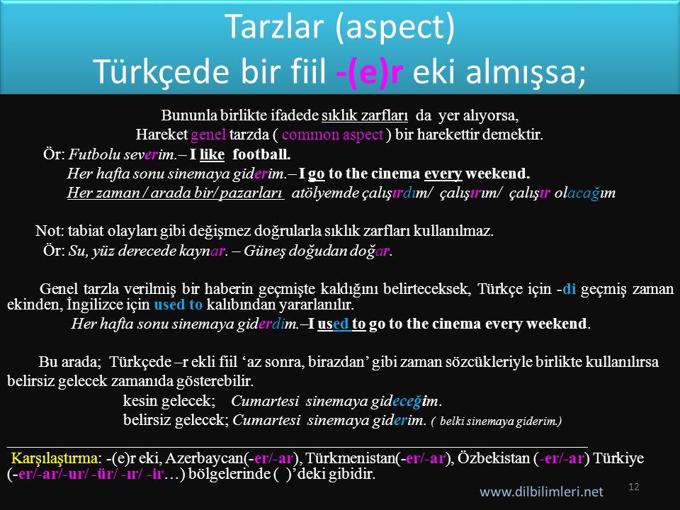 Tarzlar (aspect) Türkçede bir fiil -(e)r eki almışsa;
