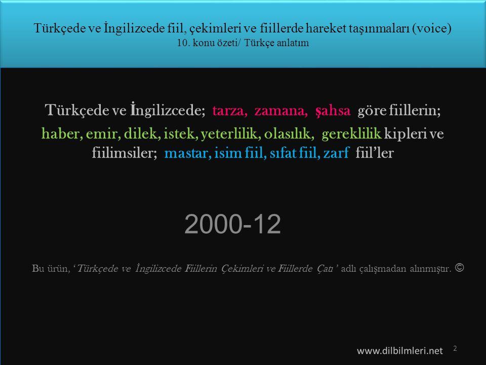 Türkçede ve İngilizcede; tarza, zamana, şahsa göre fiillerin;
