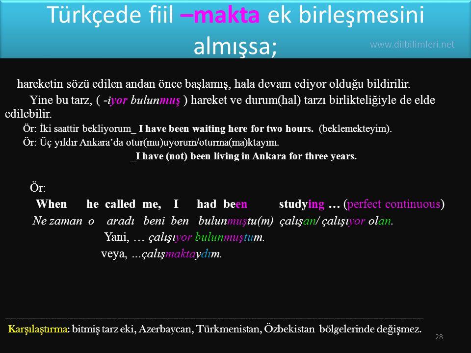 Türkçede fiil –makta ek birleşmesini almışsa;