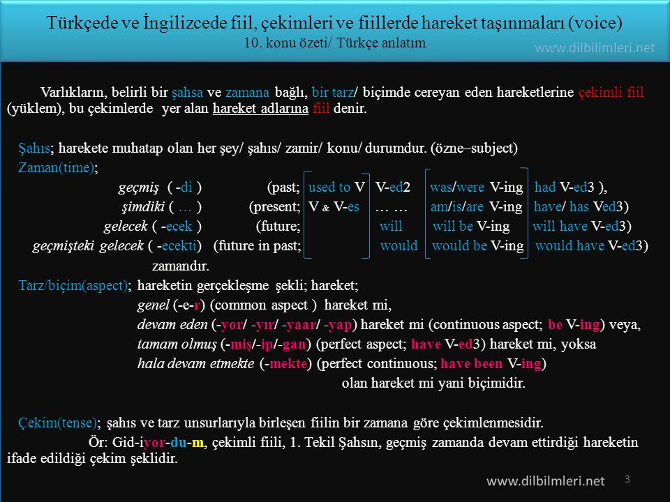 Türkçede ve İngilizcede fiil, çekimleri ve fiillerde hareket taşınmaları (voice) 10. konu özeti/ Türkçe anlatım