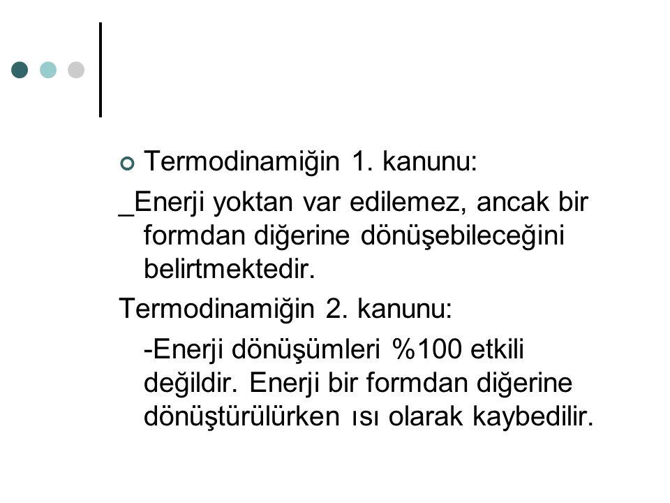 Termodinamiğin 1. kanunu: