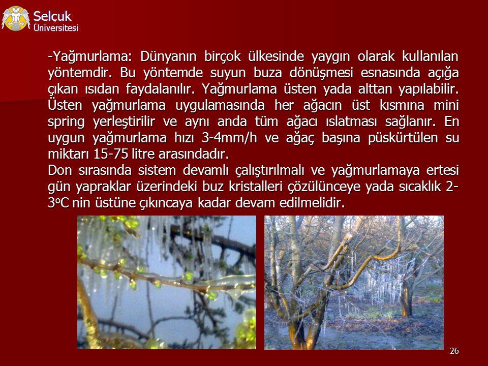 -Yağmurlama: Dünyanın birçok ülkesinde yaygın olarak kullanılan yöntemdir.