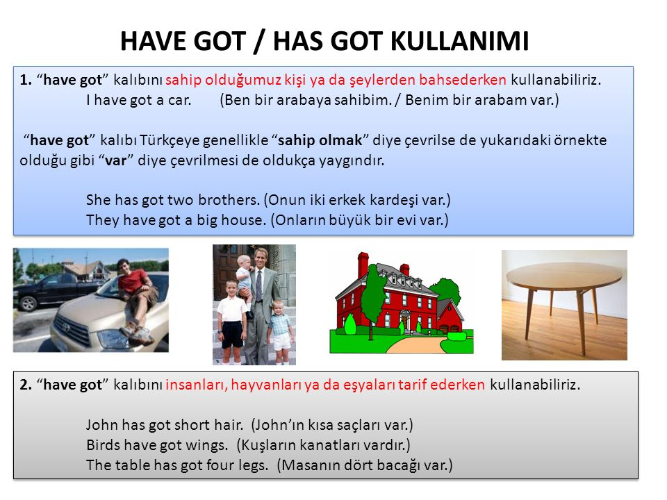 HAVE GOT / HAS GOT KULLANIMI