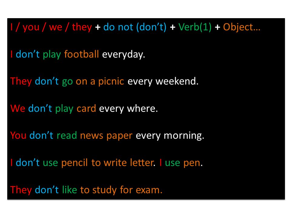 I / you / we / they + do not (don't) + Verb(1) + Object…