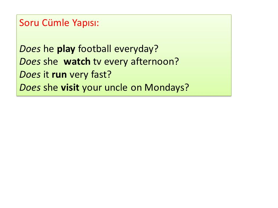 Soru Cümle Yapısı: Does he play football everyday Does she watch tv every afternoon Does it run very fast