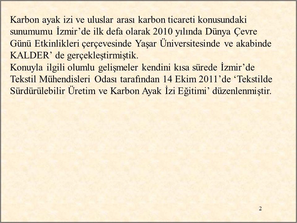 Karbon ayak izi ve uluslar arası karbon ticareti konusundaki sunumumu İzmir'de ilk defa olarak 2010 yılında Dünya Çevre Günü Etkinlikleri çerçevesinde Yaşar Üniversitesinde ve akabinde KALDER' de gerçekleştirmiştik.