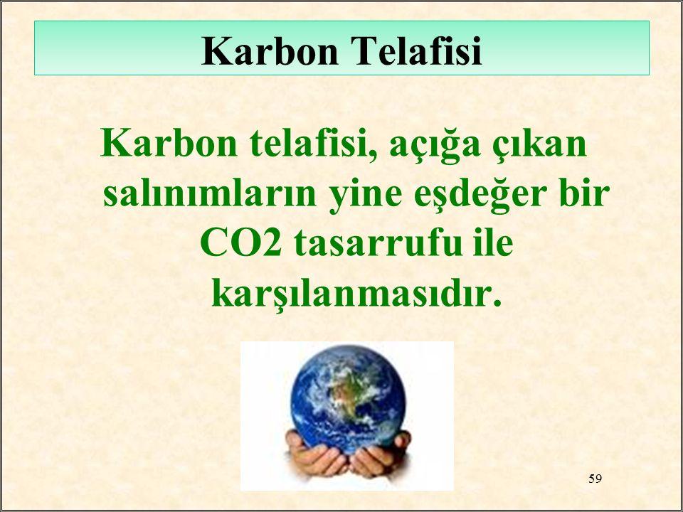 Karbon Telafisi Karbon telafisi, açığa çıkan salınımların yine eşdeğer bir CO2 tasarrufu ile karşılanmasıdır.