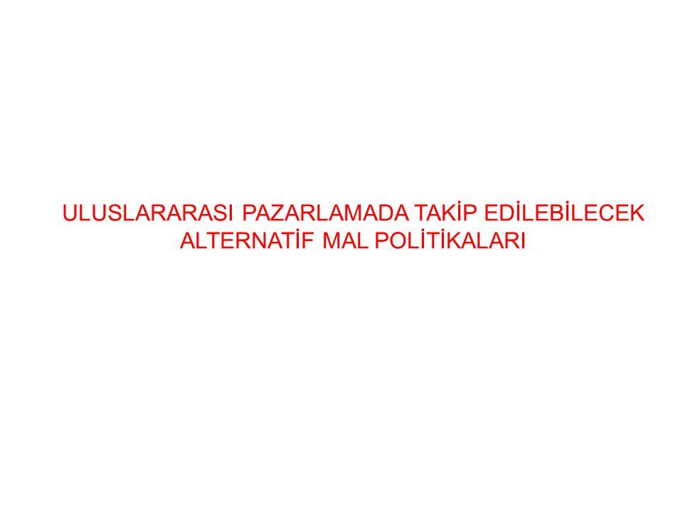 ULUSLARARASI PAZARLAMADA TAKİP EDİLEBİLECEK ALTERNATİF MAL POLİTİKALARI
