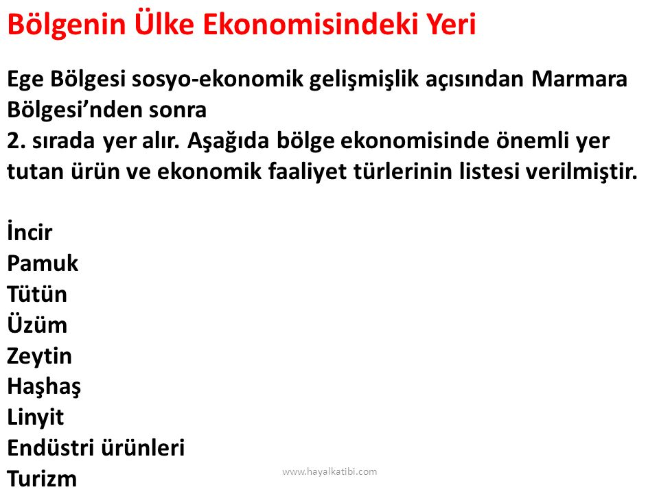 Bölgenin Ülke Ekonomisindeki Yeri Ege Bölgesi sosyo-ekonomik gelişmişlik açısından Marmara Bölgesi'nden sonra 2. sırada yer alır. Aşağıda bölge ekonomisinde önemli yer tutan ürün ve ekonomik faaliyet türlerinin listesi verilmiştir. İncir Pamuk Tütün Üzüm Zeytin Haşhaş Linyit Endüstri ürünleri Turizm