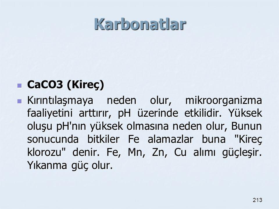 Karbonatlar CaCO3 (Kireç)
