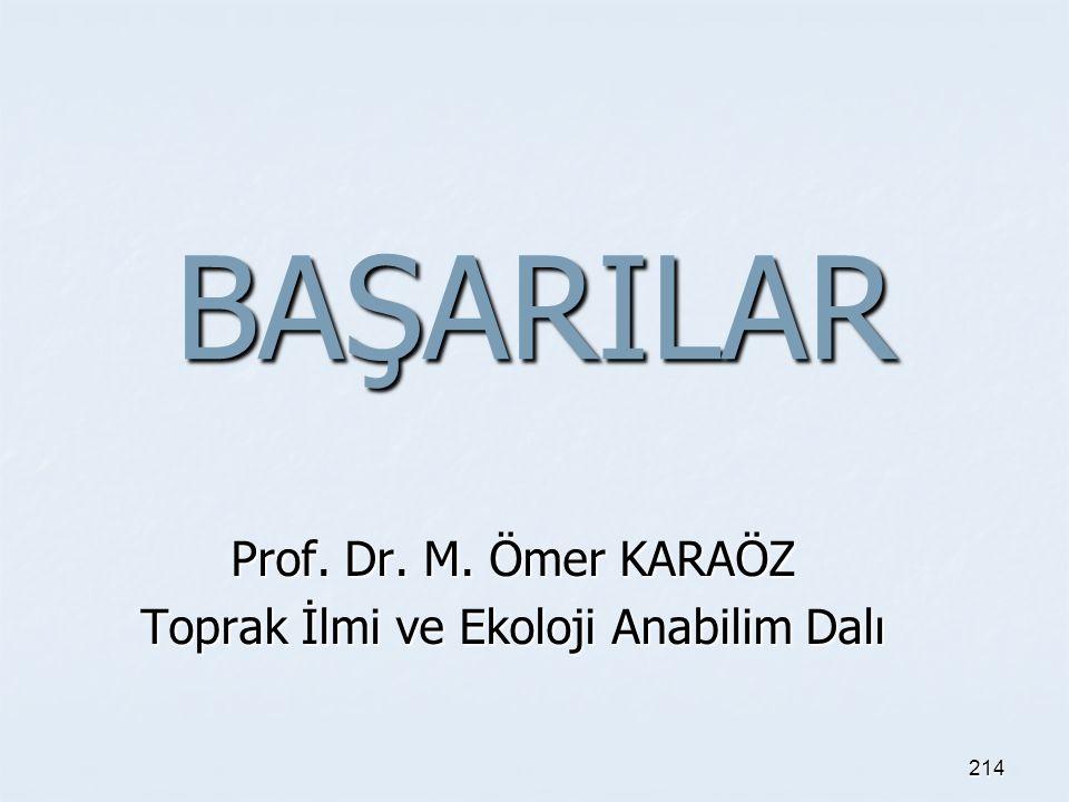 Prof. Dr. M. Ömer KARAÖZ Toprak İlmi ve Ekoloji Anabilim Dalı