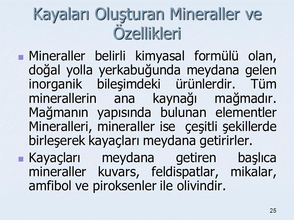 Kayaları Oluşturan Mineraller ve Özellikleri