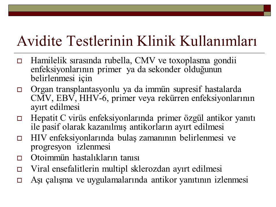 Avidite Testlerinin Klinik Kullanımları