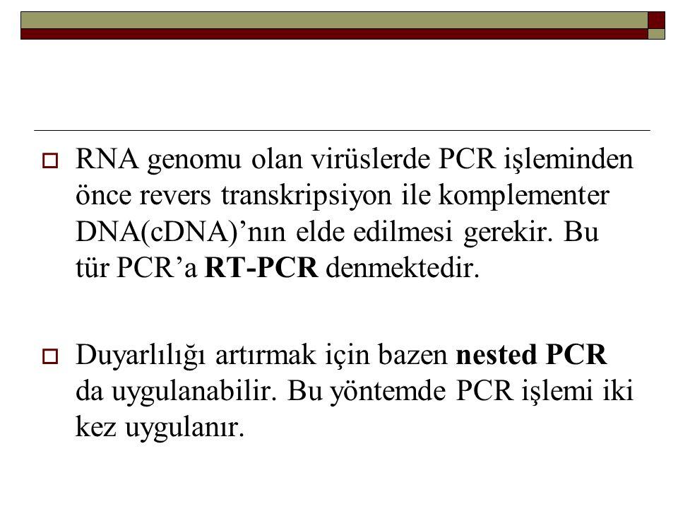 RNA genomu olan virüslerde PCR işleminden önce revers transkripsiyon ile komplementer DNA(cDNA)'nın elde edilmesi gerekir. Bu tür PCR'a RT-PCR denmektedir.