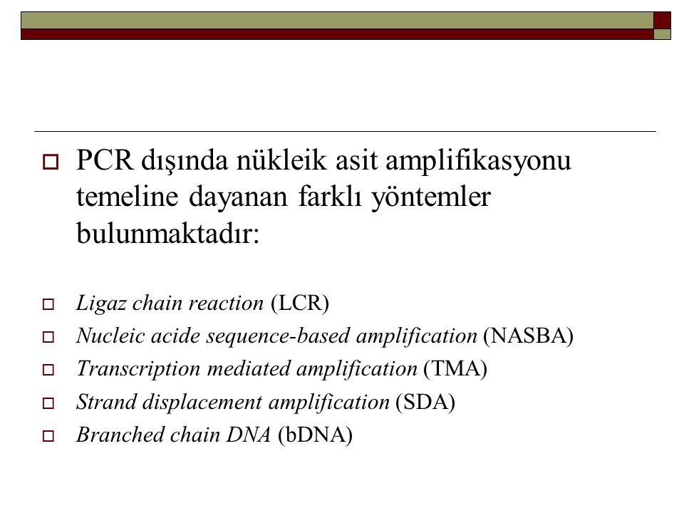 PCR dışında nükleik asit amplifikasyonu temeline dayanan farklı yöntemler bulunmaktadır: