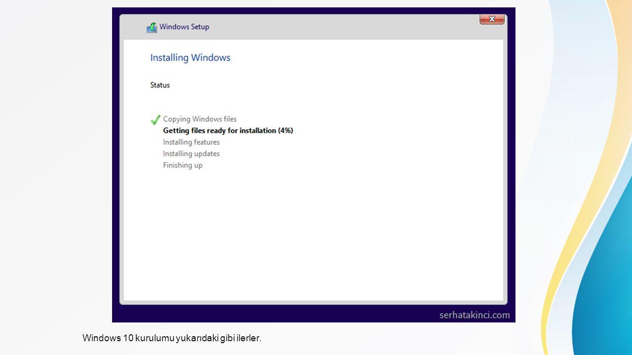 Windows 10 kurulumu yukarıdaki gibi ilerler.