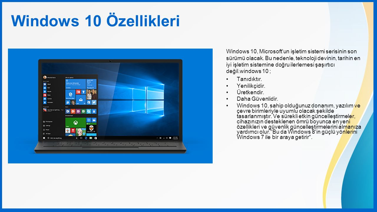 Windows 10 Özellikleri