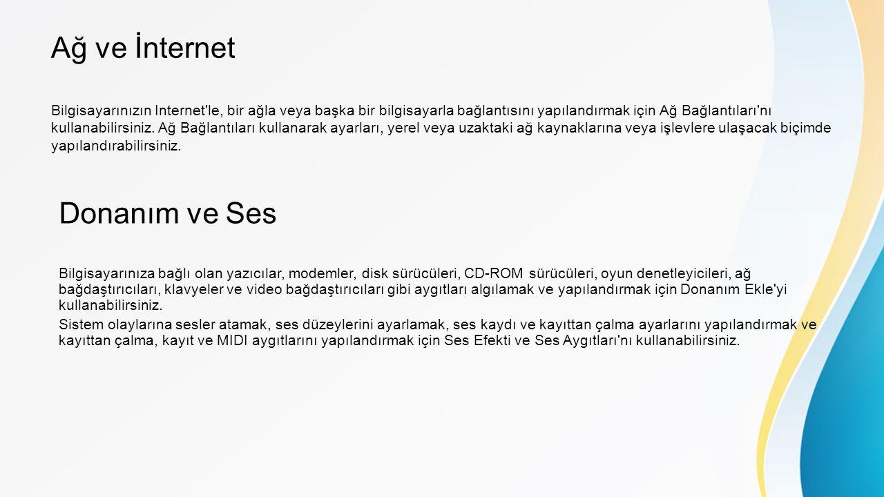 Ağ ve İnternet Donanım ve Ses