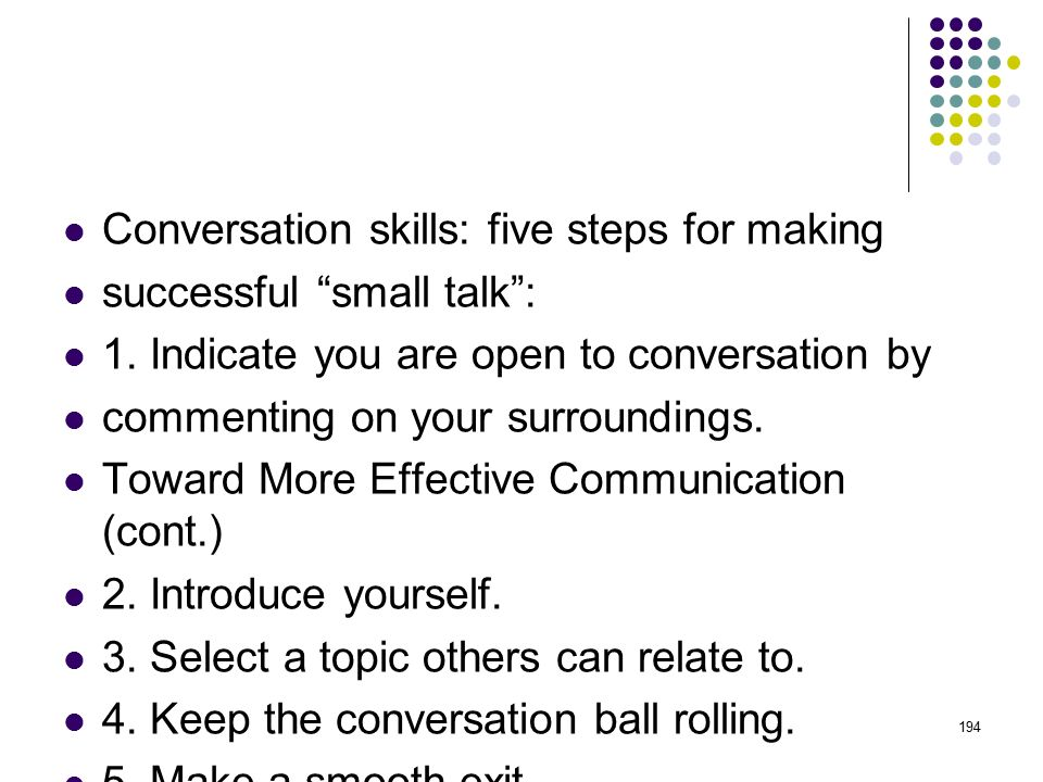 Conversation skills: five steps for making