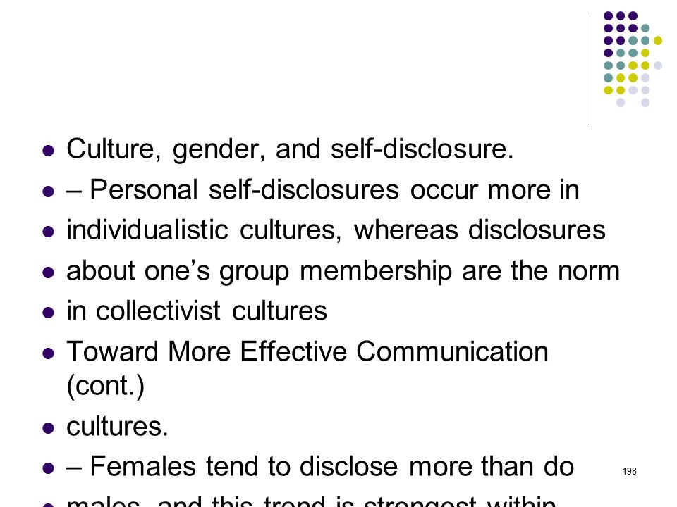Culture, gender, and self-disclosure.