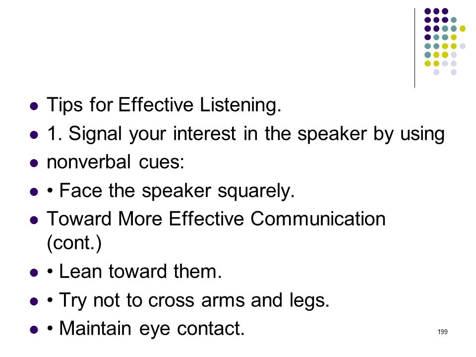 Tips for Effective Listening.