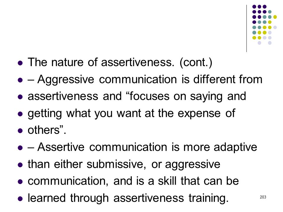 The nature of assertiveness. (cont.)