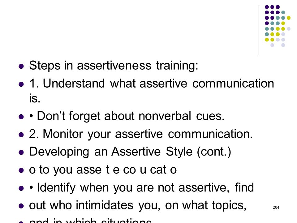 Steps in assertiveness training:
