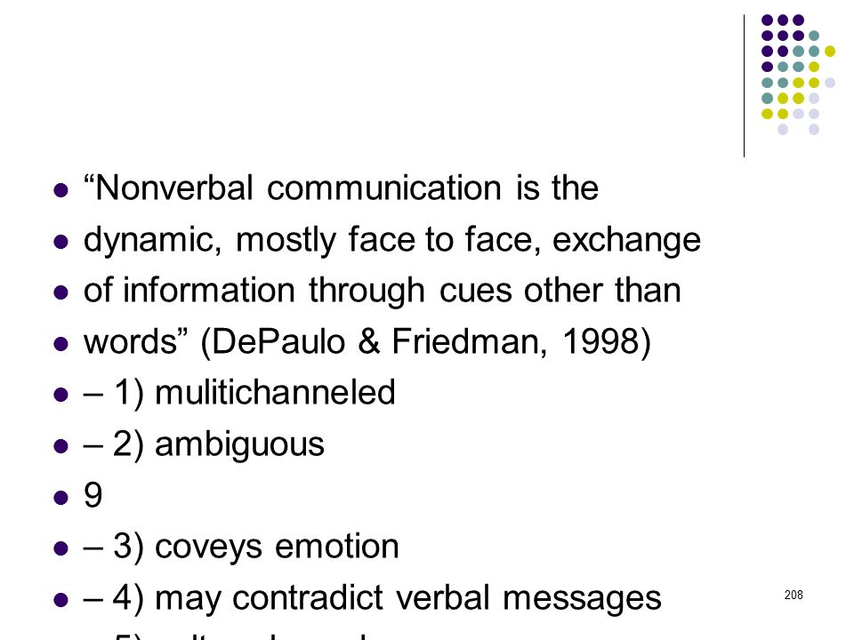 Nonverbal communication is the