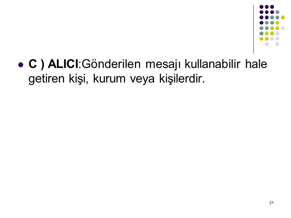 C ) ALICI:Gönderilen mesajı kullanabilir hale getiren kişi, kurum veya kişilerdir.