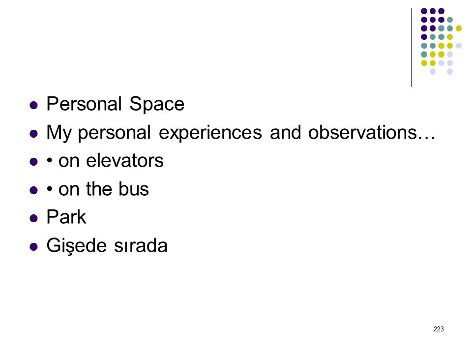 Personal Space My personal experiences and observations… • on elevators.