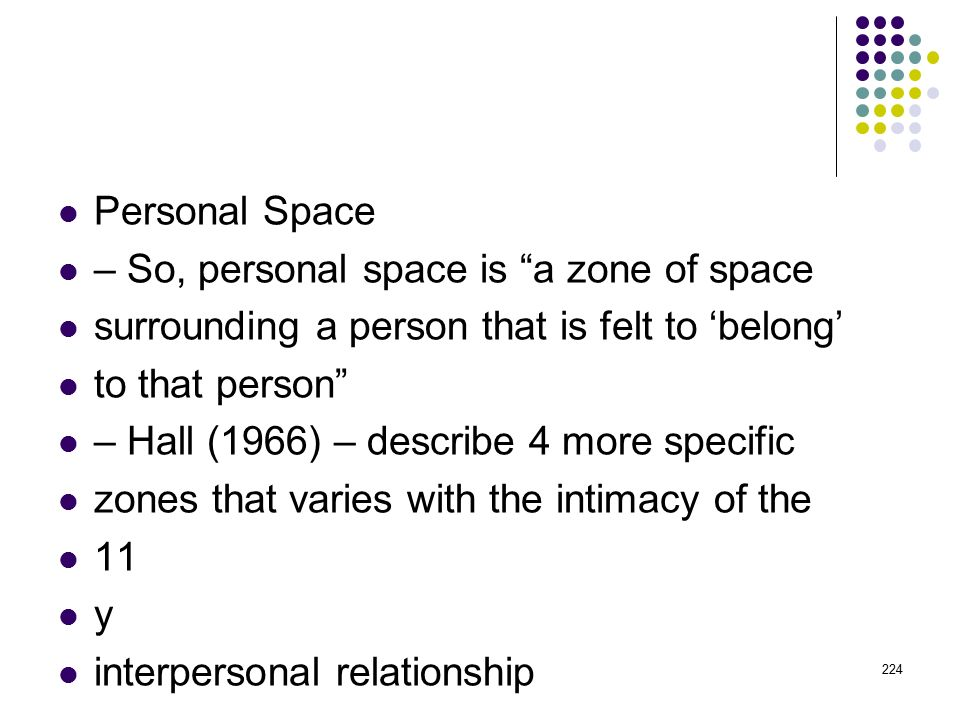 Personal Space – So, personal space is a zone of space. surrounding a person that is felt to 'belong'