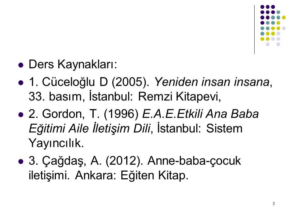 Ders Kaynakları: 1. Cüceloğlu D (2005). Yeniden insan insana, 33. basım, İstanbul: Remzi Kitapevi,