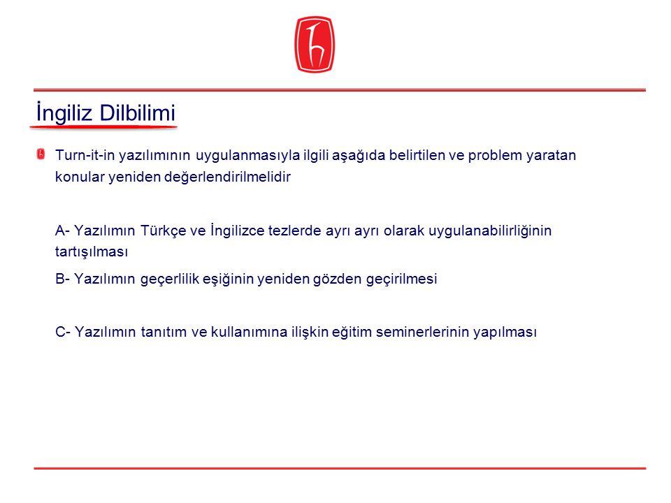 İngiliz Dilbilimi Turn-it-in yazılımının uygulanmasıyla ilgili aşağıda belirtilen ve problem yaratan konular yeniden değerlendirilmelidir.