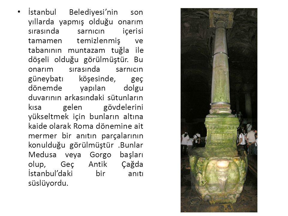 İstanbul Belediyesi'nin son yıllarda yapmış olduğu onarım sırasında sarnıcın içerisi tamamen temizlenmiş ve tabanının muntazam tuğla ile döşeli olduğu görülmüştür.