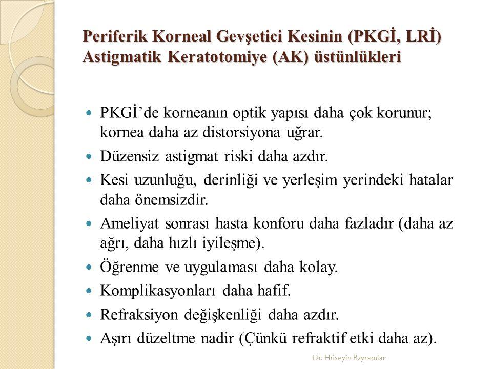 Periferik Korneal Gevşetici Kesinin (PKGİ, LRİ) Astigmatik Keratotomiye (AK) üstünlükleri