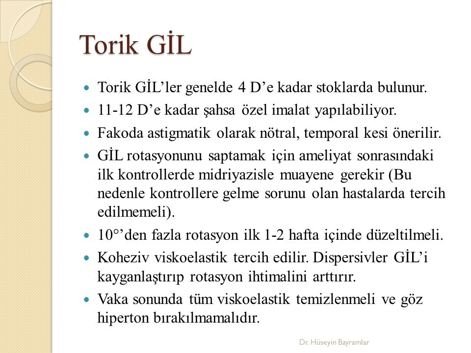 Torik GİL Torik GİL'ler genelde 4 D'e kadar stoklarda bulunur.