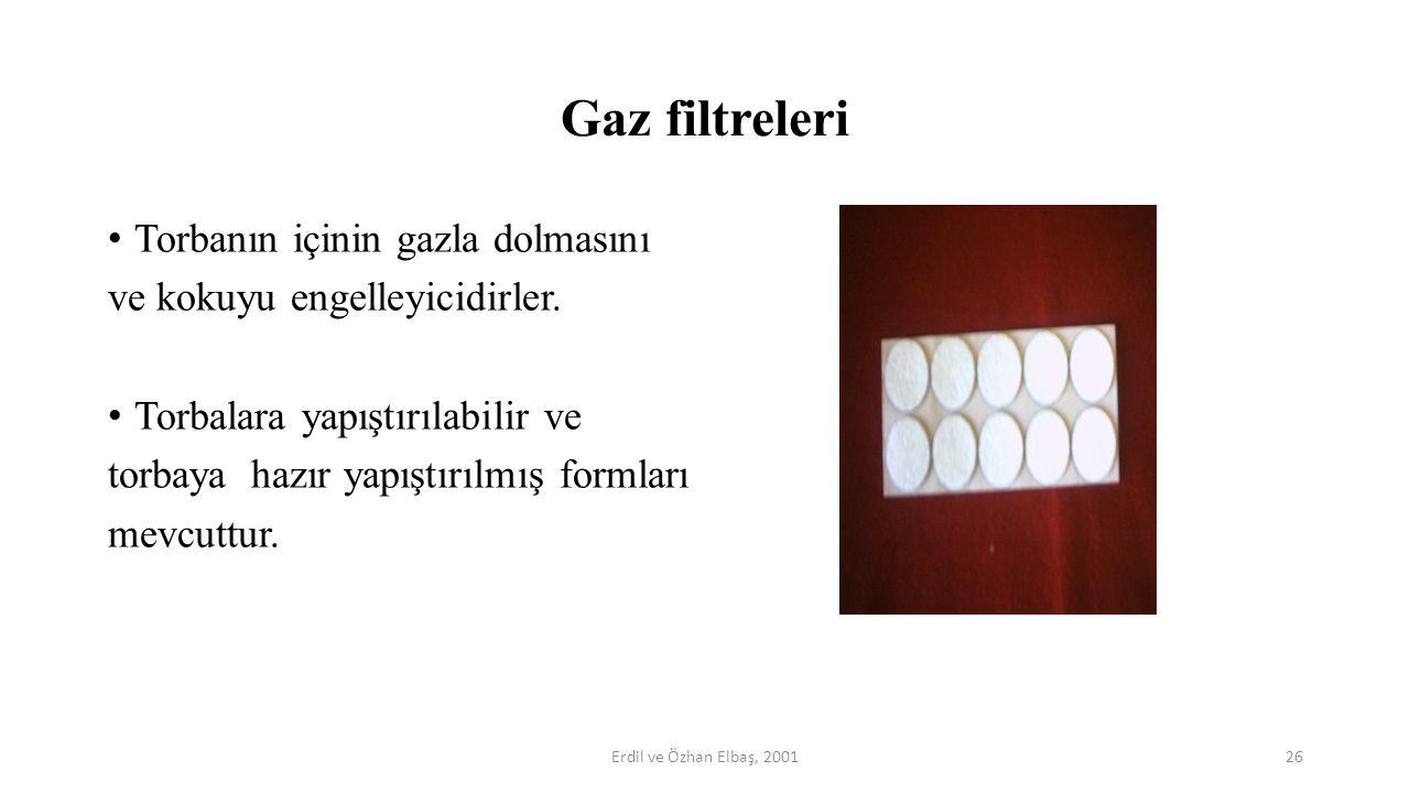 Gaz filtreleri Torbanın içinin gazla dolmasını