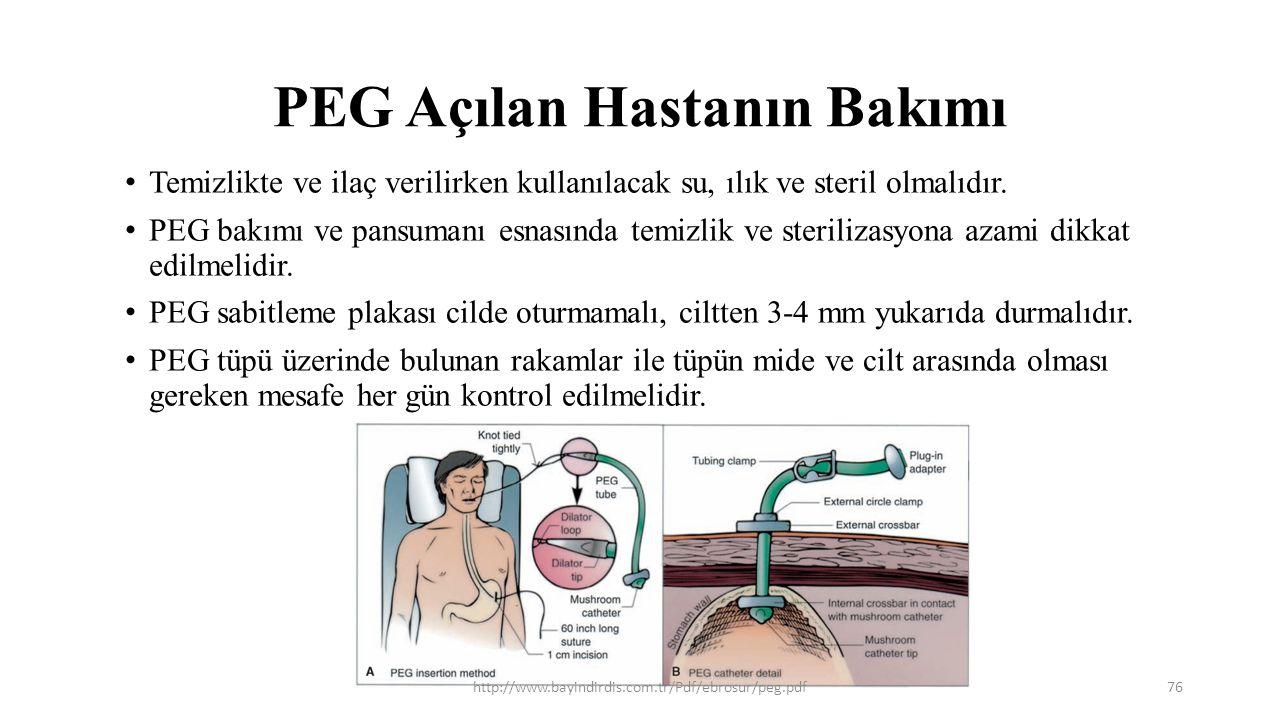 PEG Açılan Hastanın Bakımı