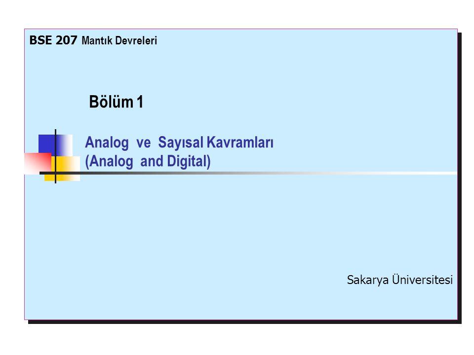 Bölüm 1 Analog ve Sayısal Kavramları (Analog and Digital)