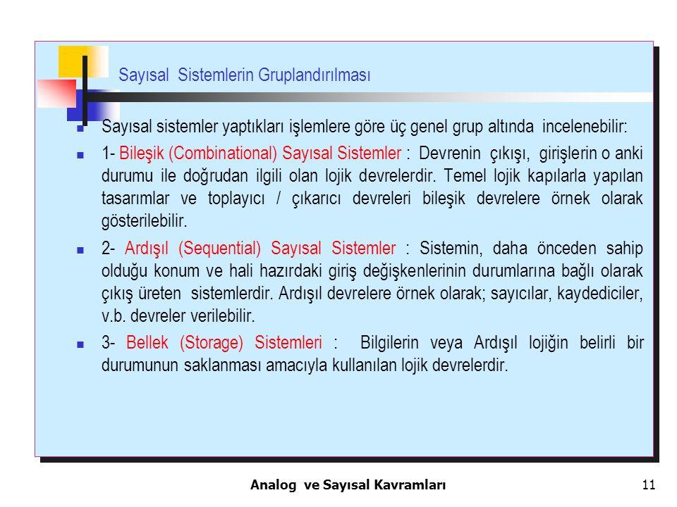 Sayısal Sistemlerin Gruplandırılması