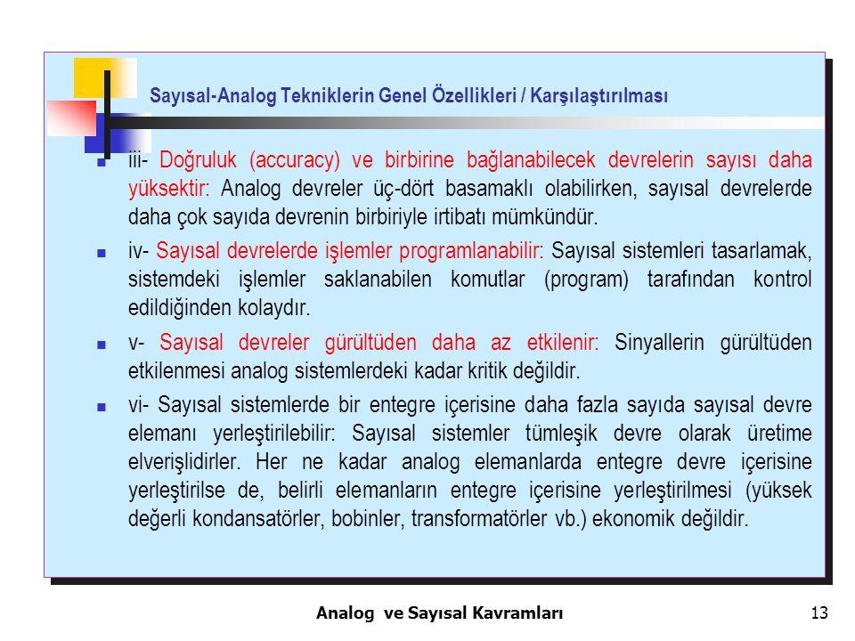 Sayısal-Analog Tekniklerin Genel Özellikleri / Karşılaştırılması
