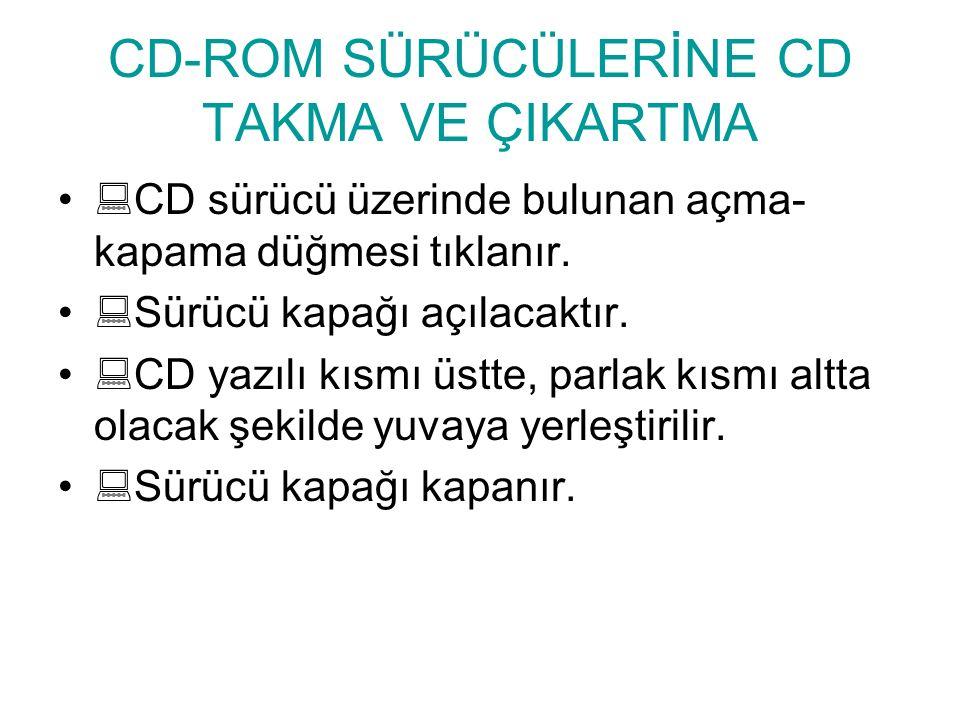 CD-ROM SÜRÜCÜLERİNE CD TAKMA VE ÇIKARTMA