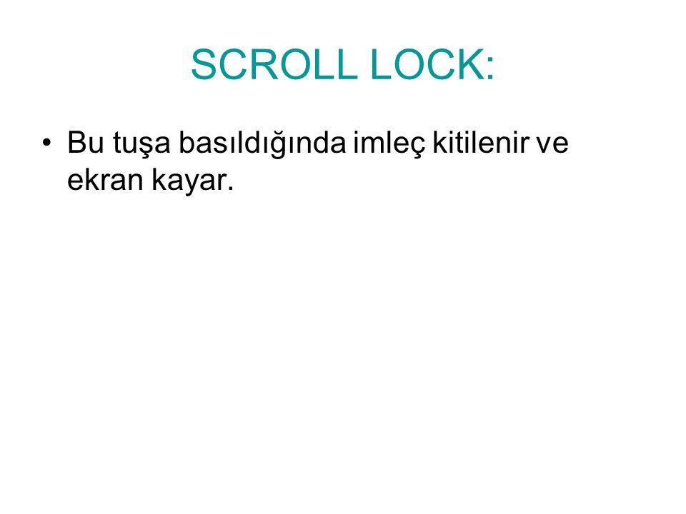 SCROLL LOCK: Bu tuşa basıldığında imleç kitilenir ve ekran kayar.